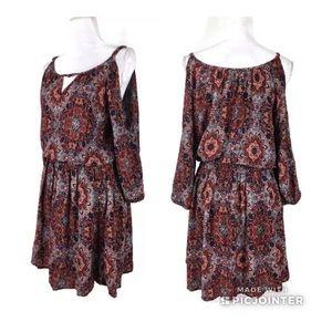 Paper Crane Boho Cold Shoulder Dress Sz Medium